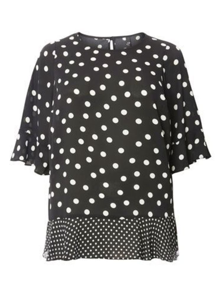 Black and White Spotted Top, Dark Multi