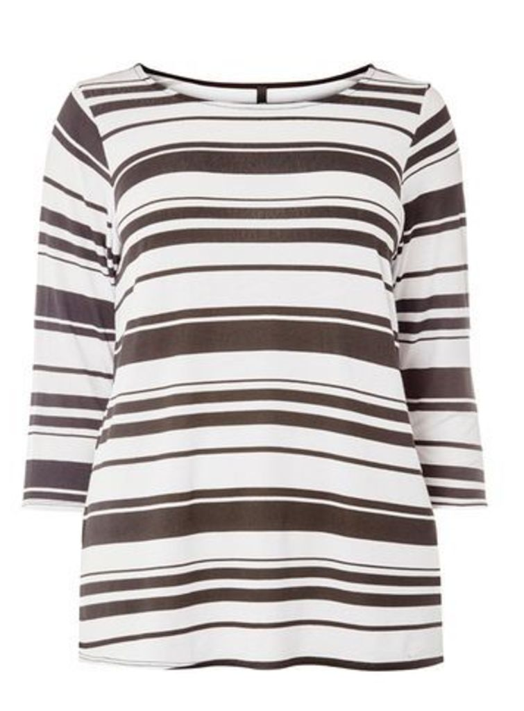 Black and White Stripe T-Shirt, Red