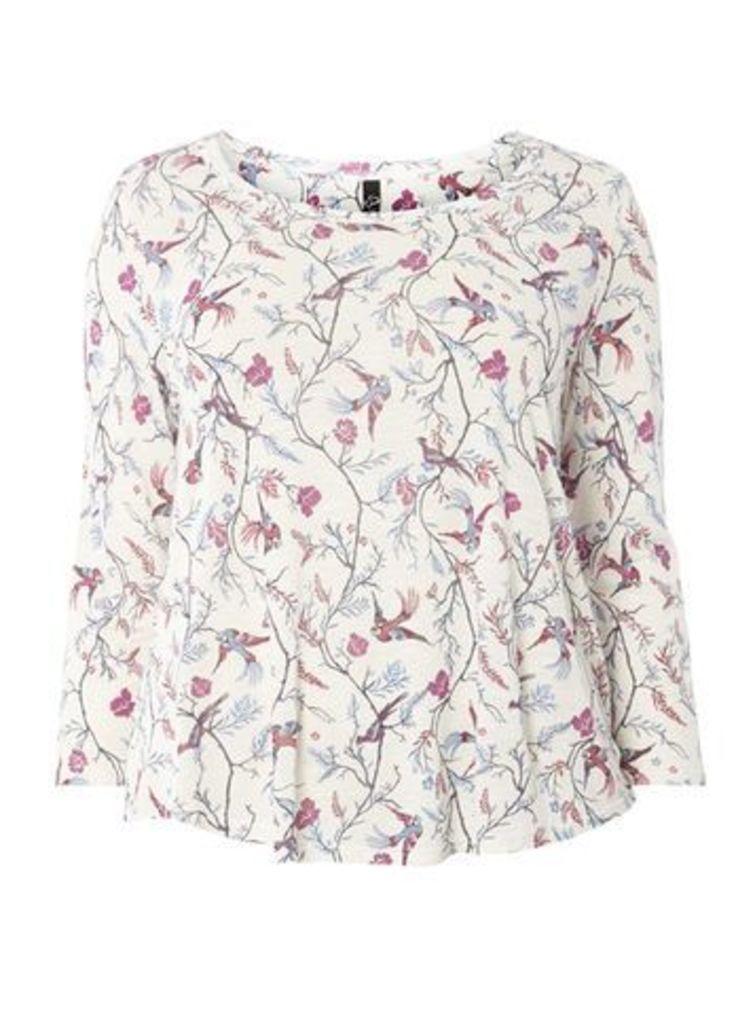 Ivory Bird Print T-Shirt, Ivory