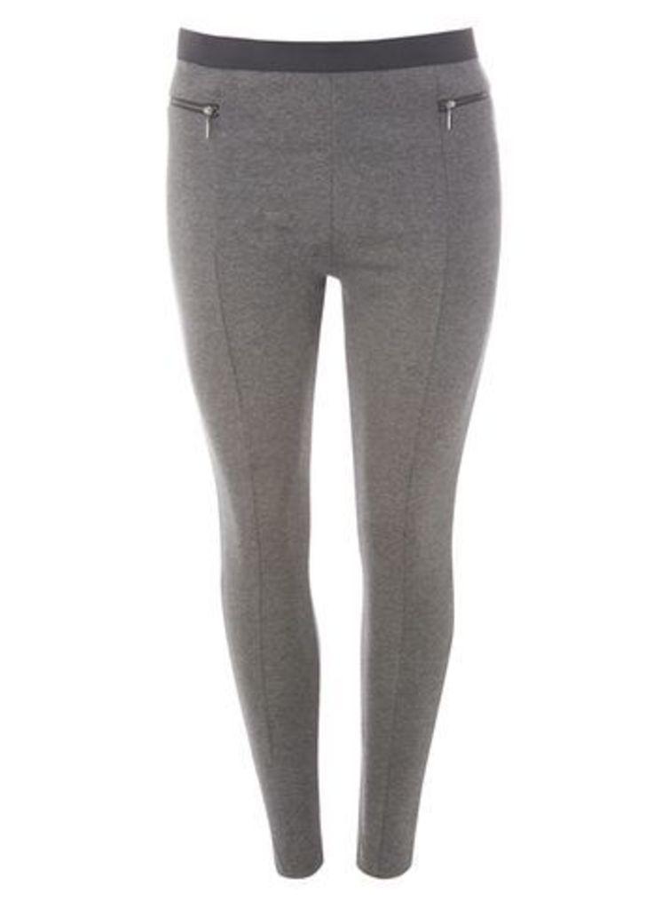 Grey Zip Pocket Ponte Leggings, Grey