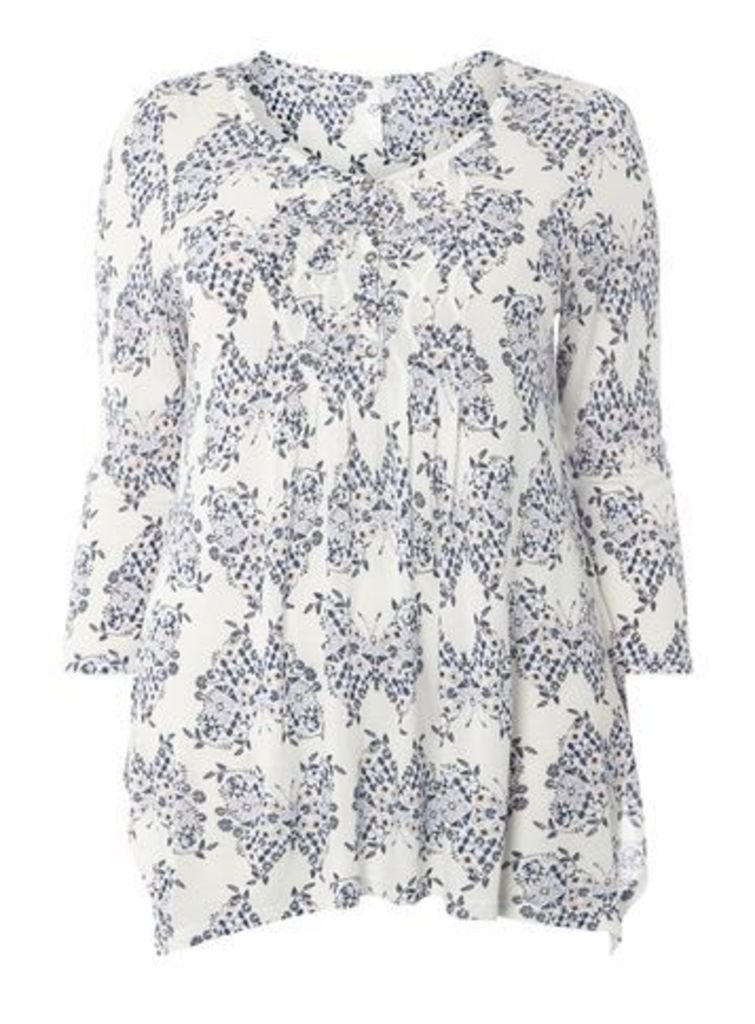 Ivory Busty Fit Butterfly Print Top, Ivory