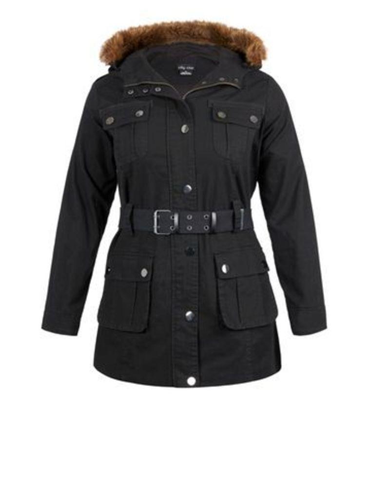 City Chic Black Utility Jacket, Black
