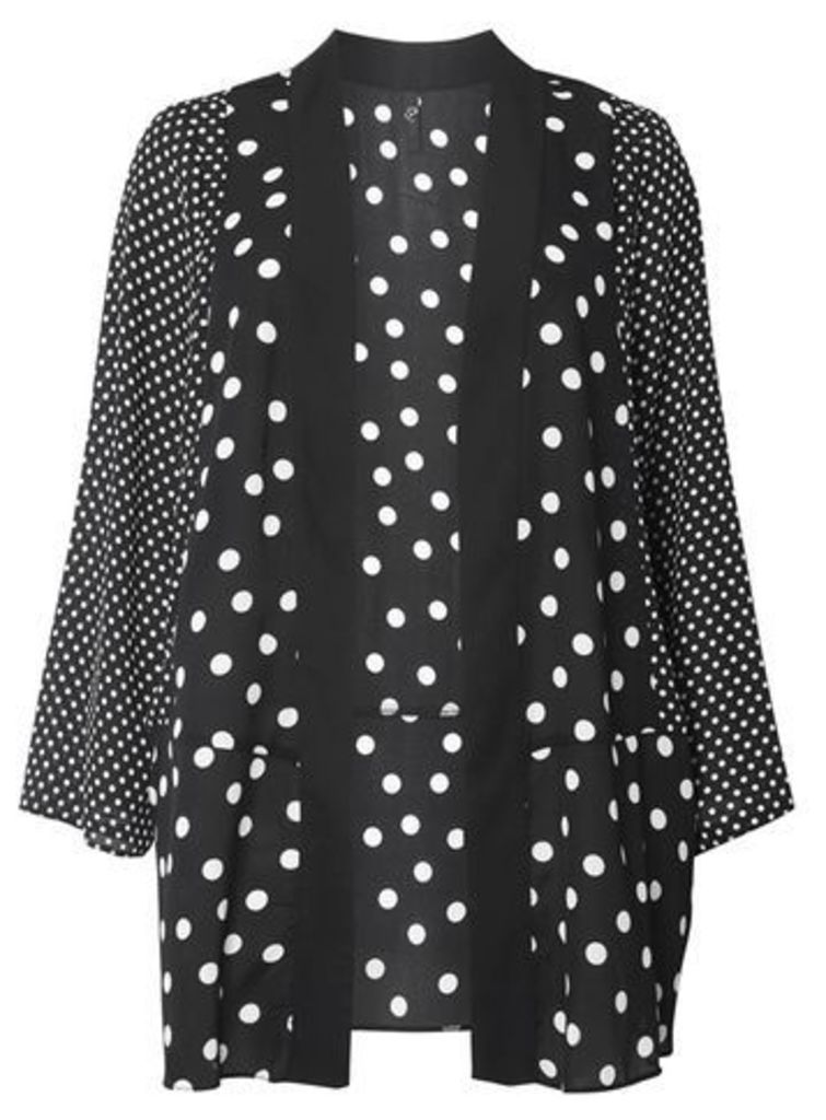 Black and Ivory Spotted Kimono Top, Dark Multi
