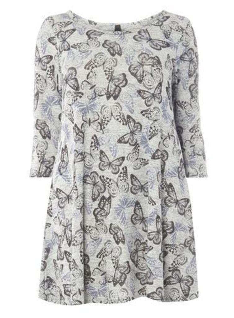 Grey Butterfly Print Top, Grey
