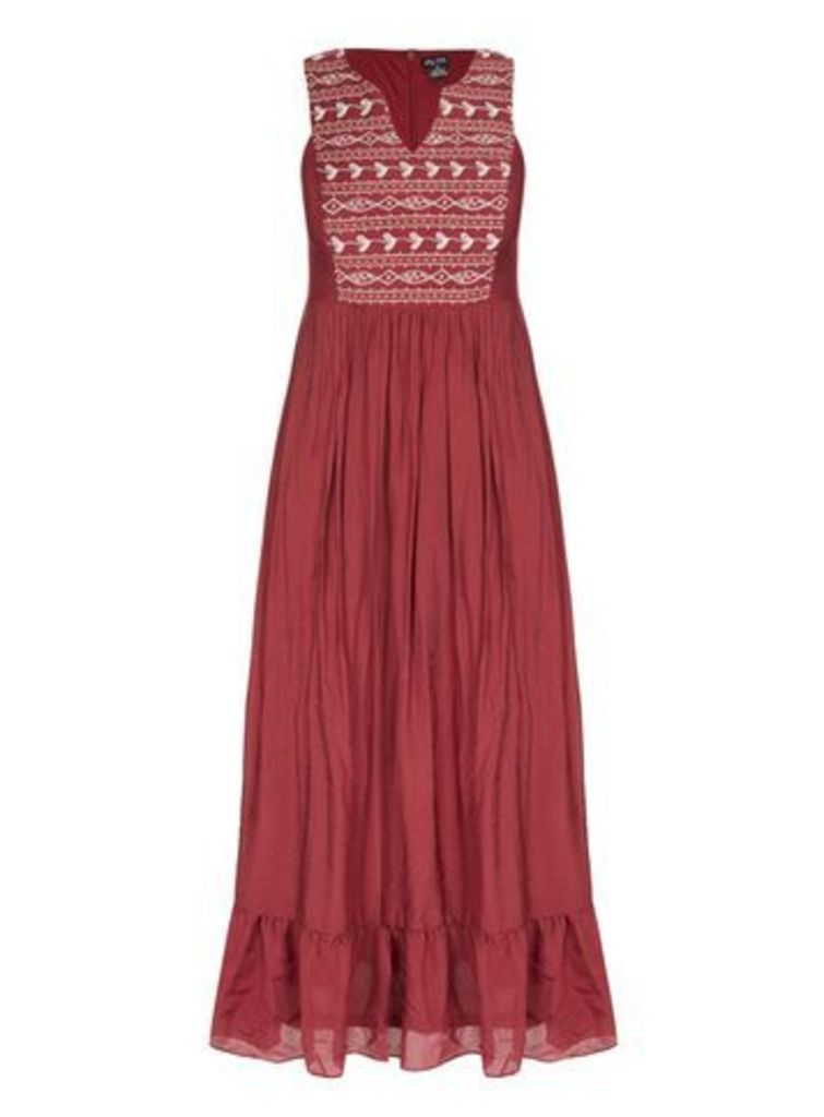 City Chic Red Embroidered Maxi Dress, Red