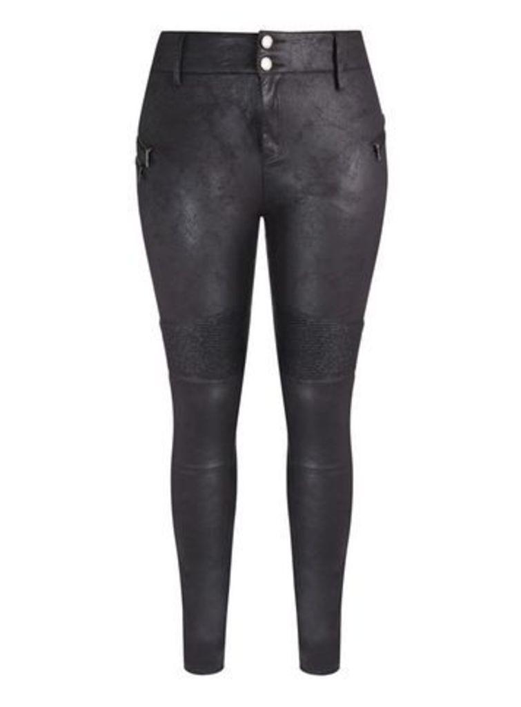 City Chic Black Faux Suede Skinny Jeans, Black