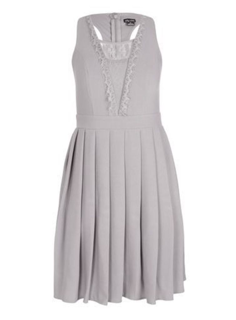 City Chic Grey Eyelash Trim Dress, Light Grey