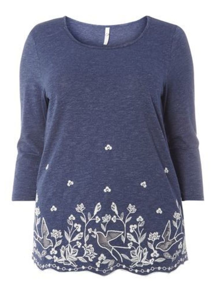 Blue Busty Fit Embroidered Top, Blue