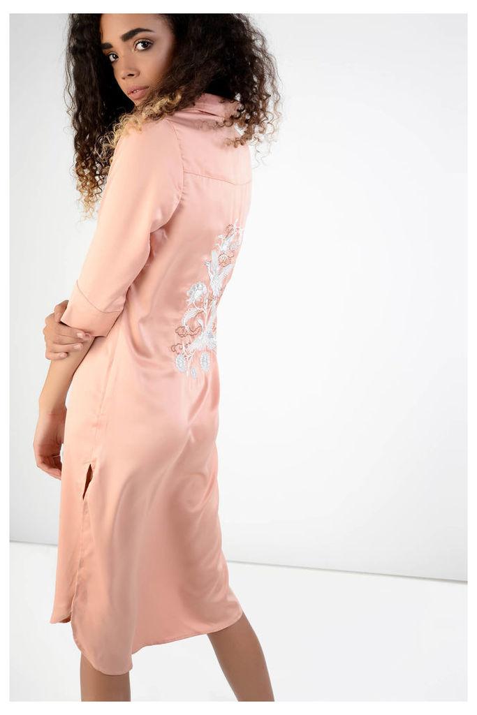 Blush Oriental Embroidery Shirt Dress
