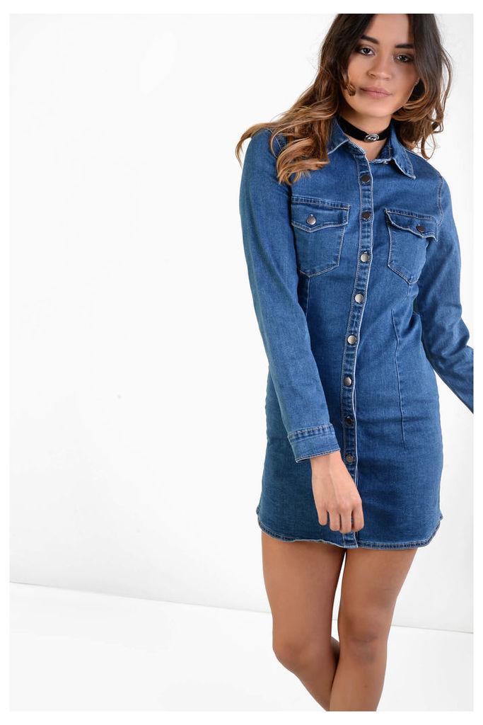 Dark Blue Denim Button Down Shift Dress