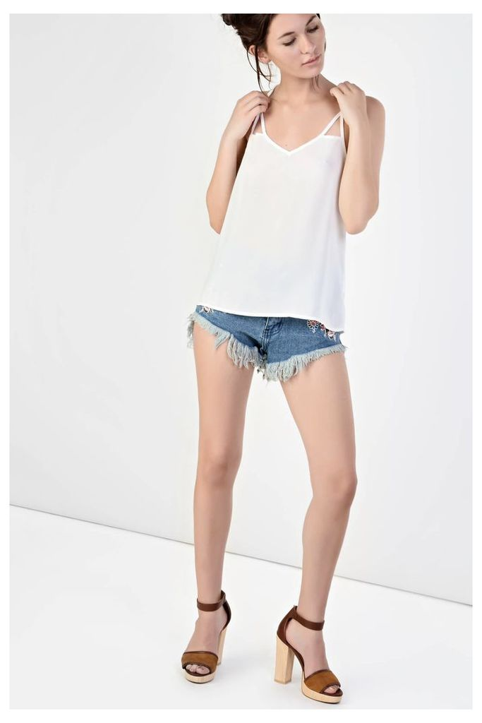 White Caged Back Cami Top