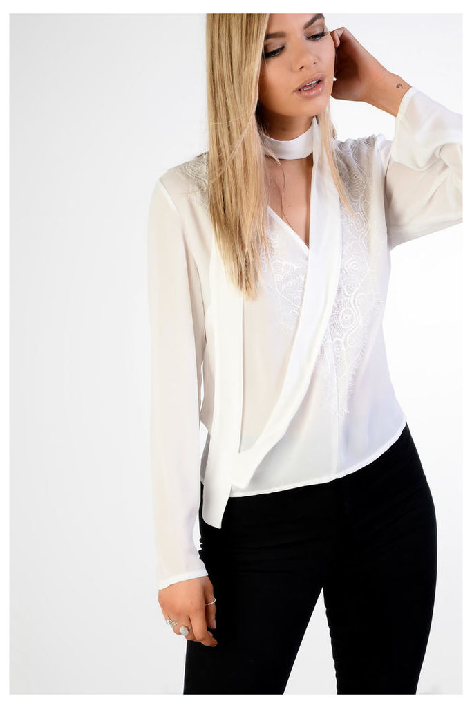 White Embroidered Neck Tie Blouse
