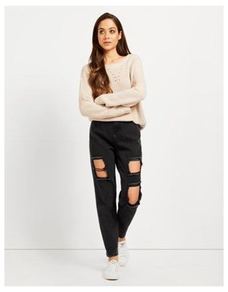 Noisy May Straight Rip Ankle Jeans