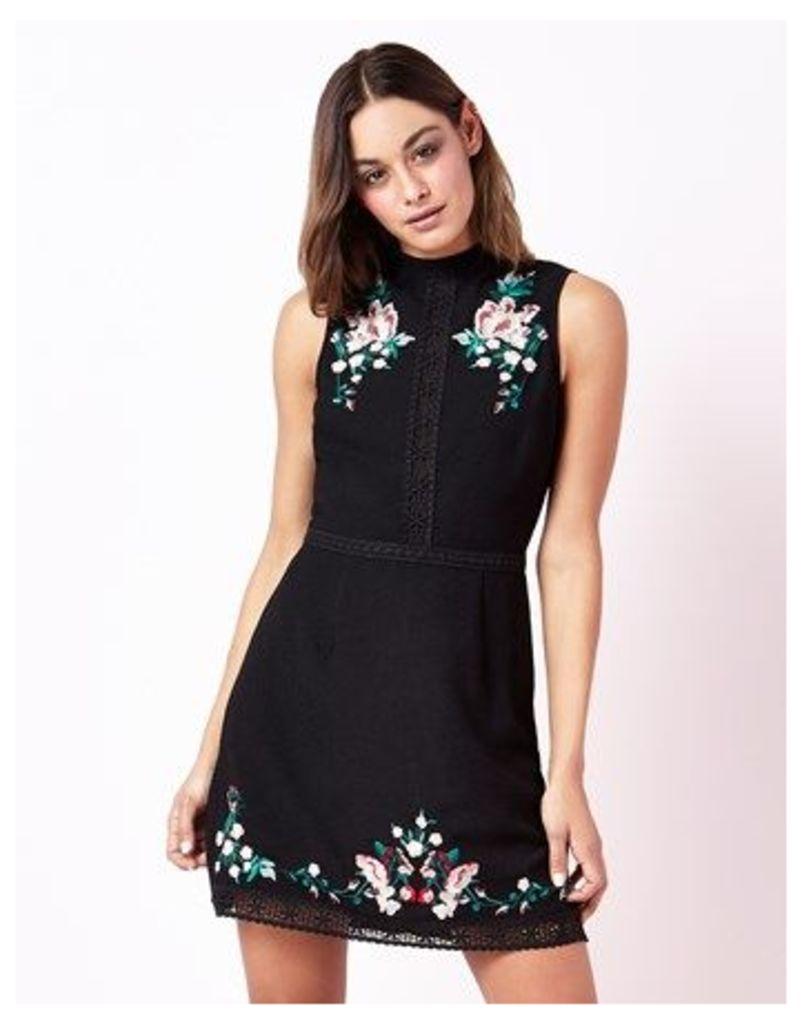 Lipsy High Neck A Line Embroidery Dress