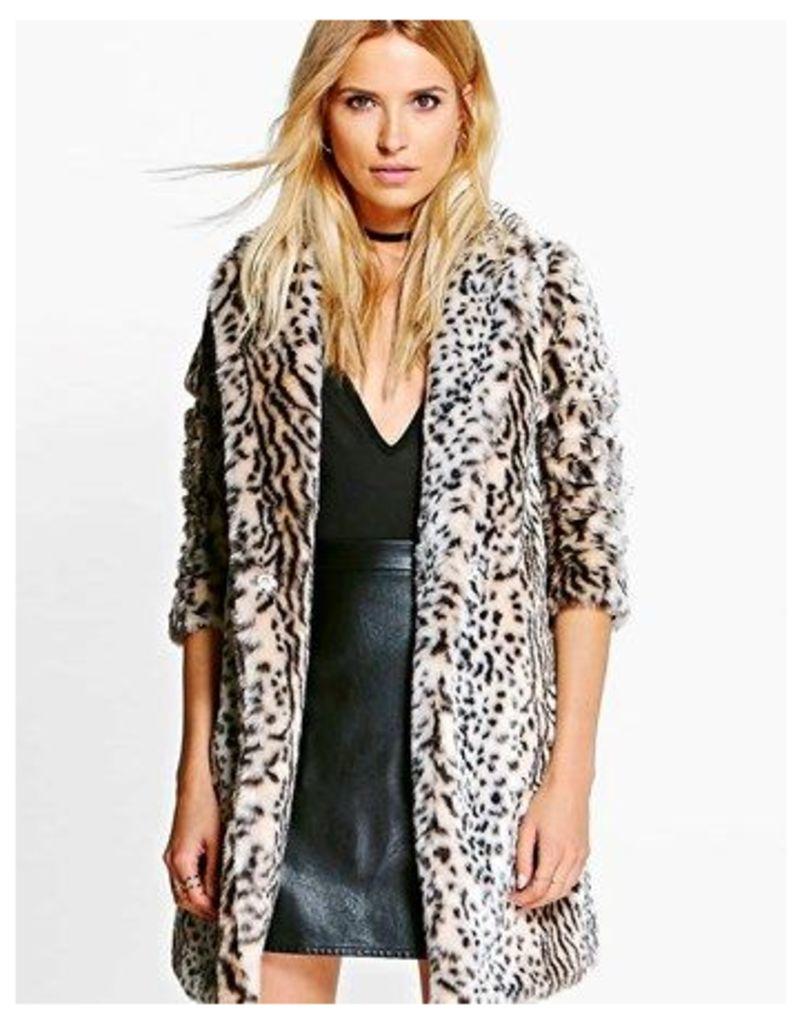 Boohoo Leopard Faux Fur Jacket