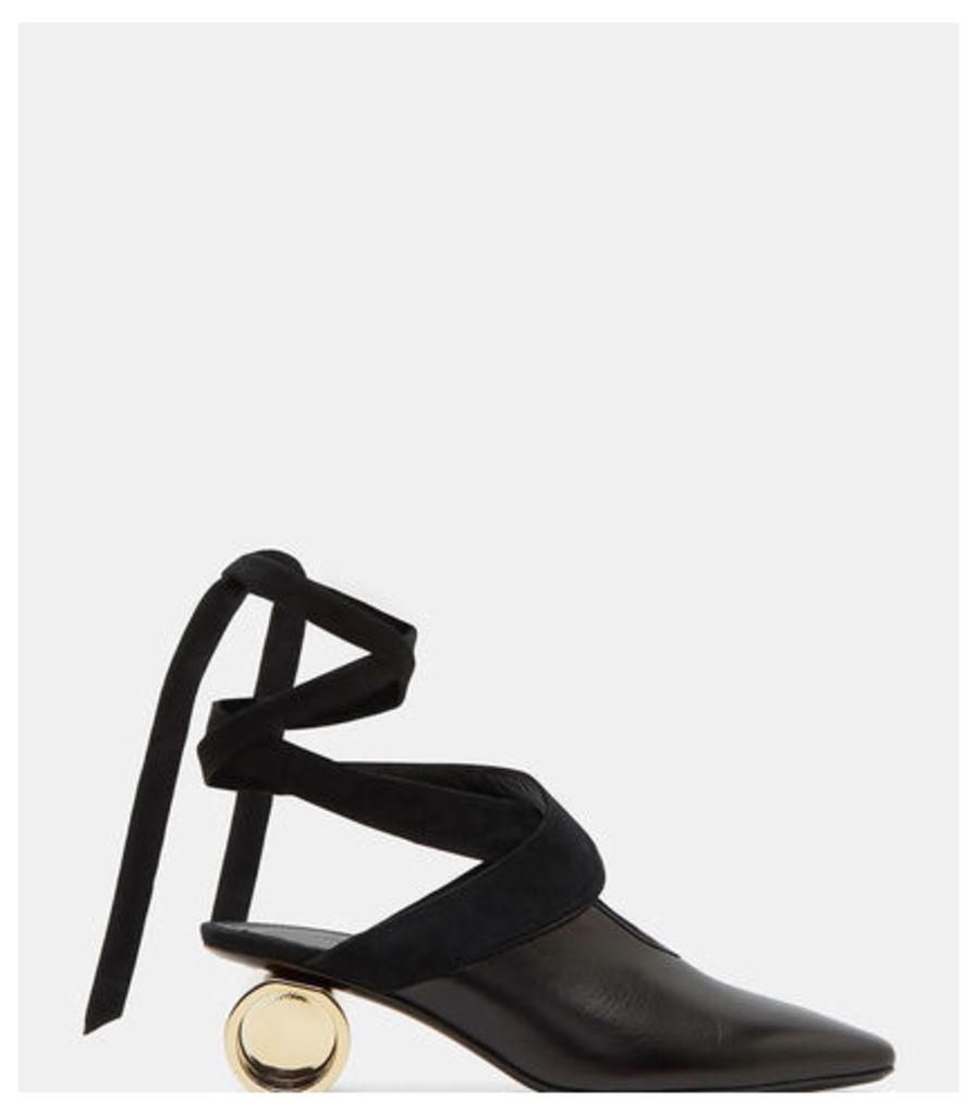 Cylinder Heeled Leather Ballerina Shoes