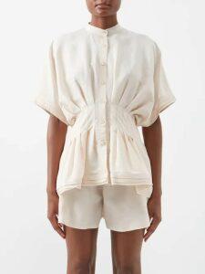 Maison Rabih Kayrouz - Off-the-shoulder Striped Cotton Top - Womens - Orange Stripe