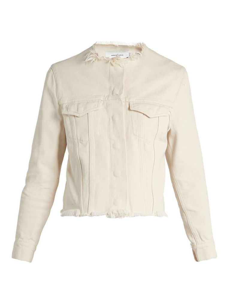 Marques'almeida - Frayed Edge Denim Jacket - Womens - Ivory