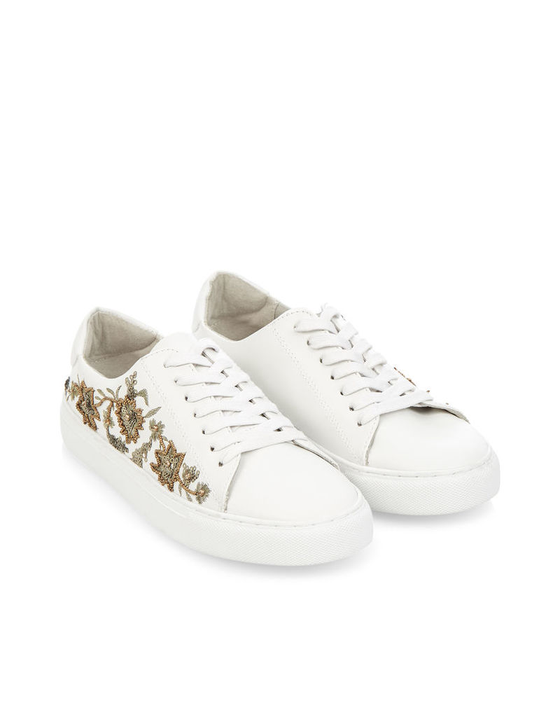 Sandra Embroidered Lace Up Trainers