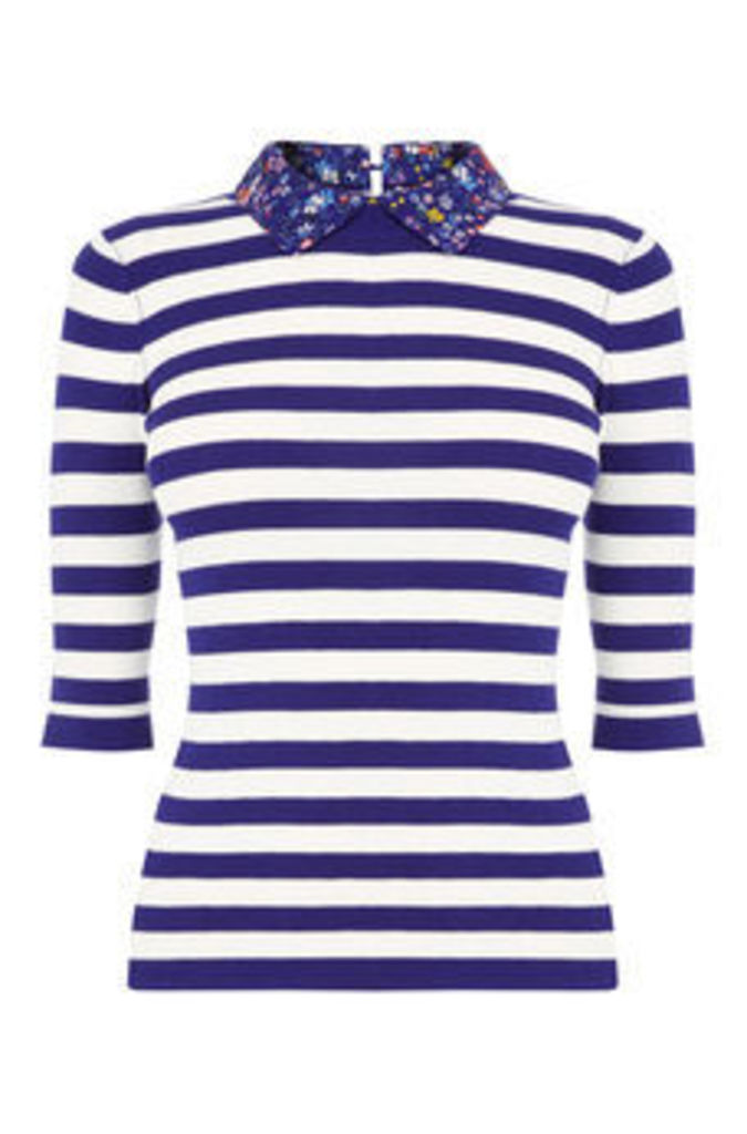 Stripe and printed collar knit