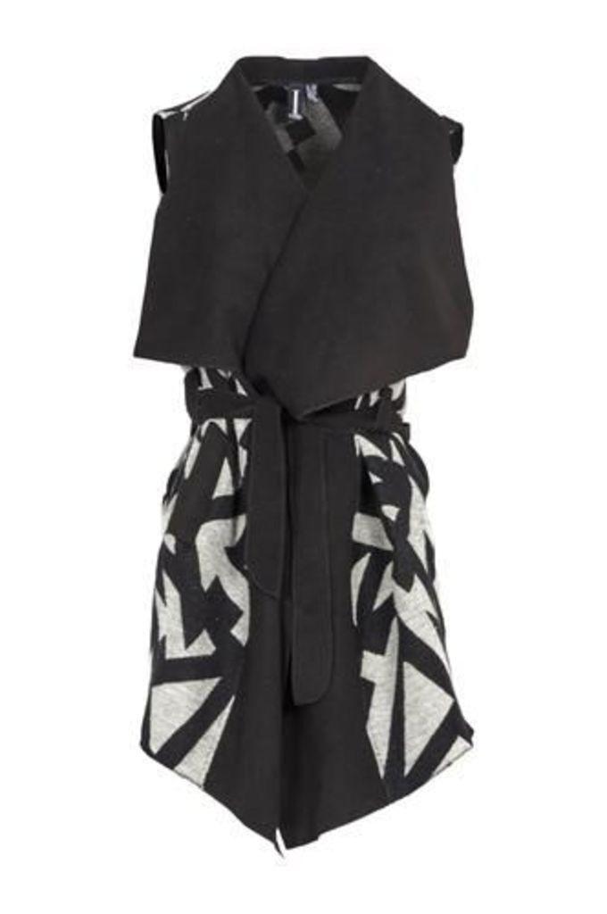 Oversize Collar Sleeveless Jacket
