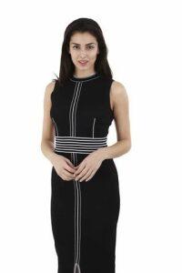 Linear Trim Midi Bodycon Dress