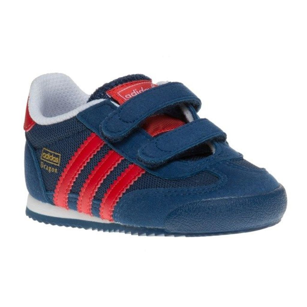 adidas Infants Dragon Trainers, Shadow Blue/Lush Red/White