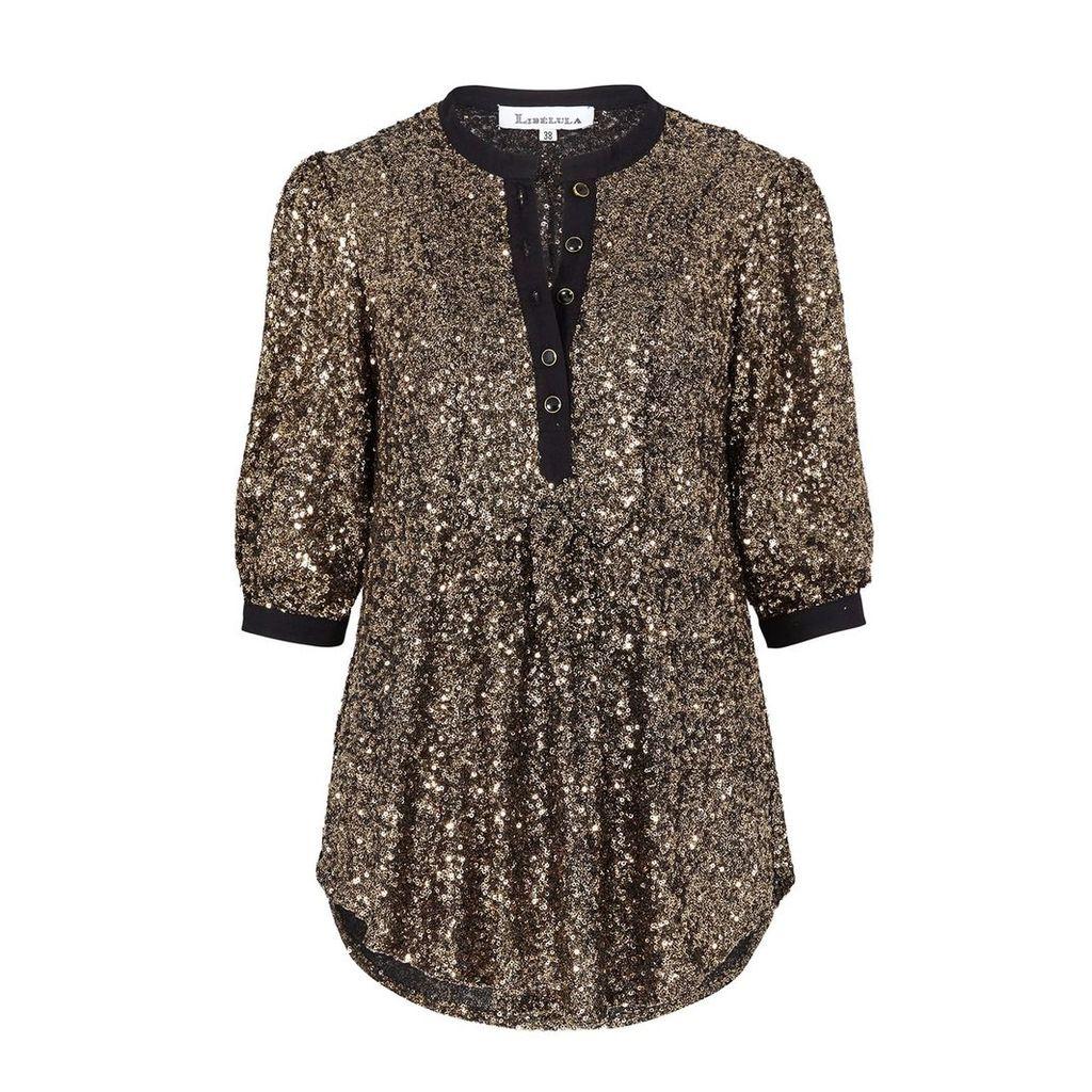 Libelula - Goodie Top Gold Sequins