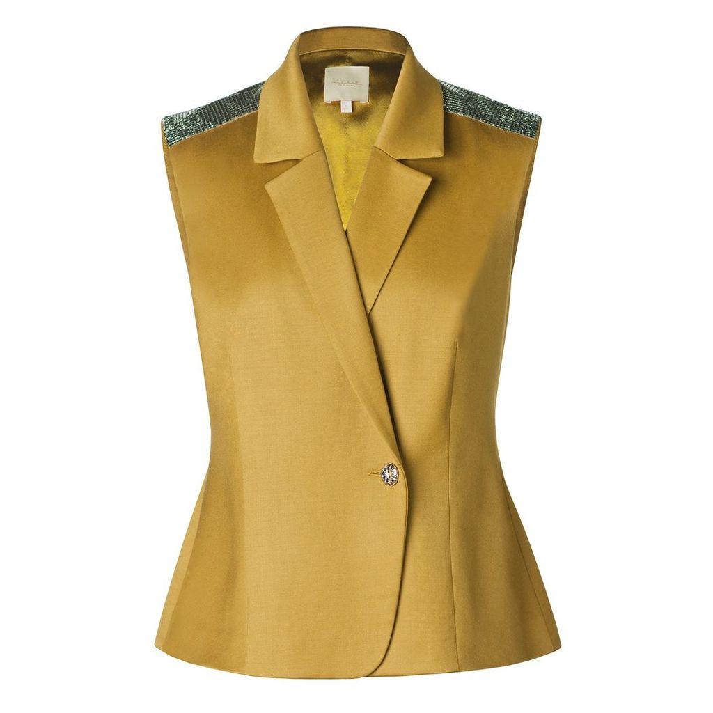 Leka - Olive Green Wool & Silk-Blend Metallic Epaulette Vest