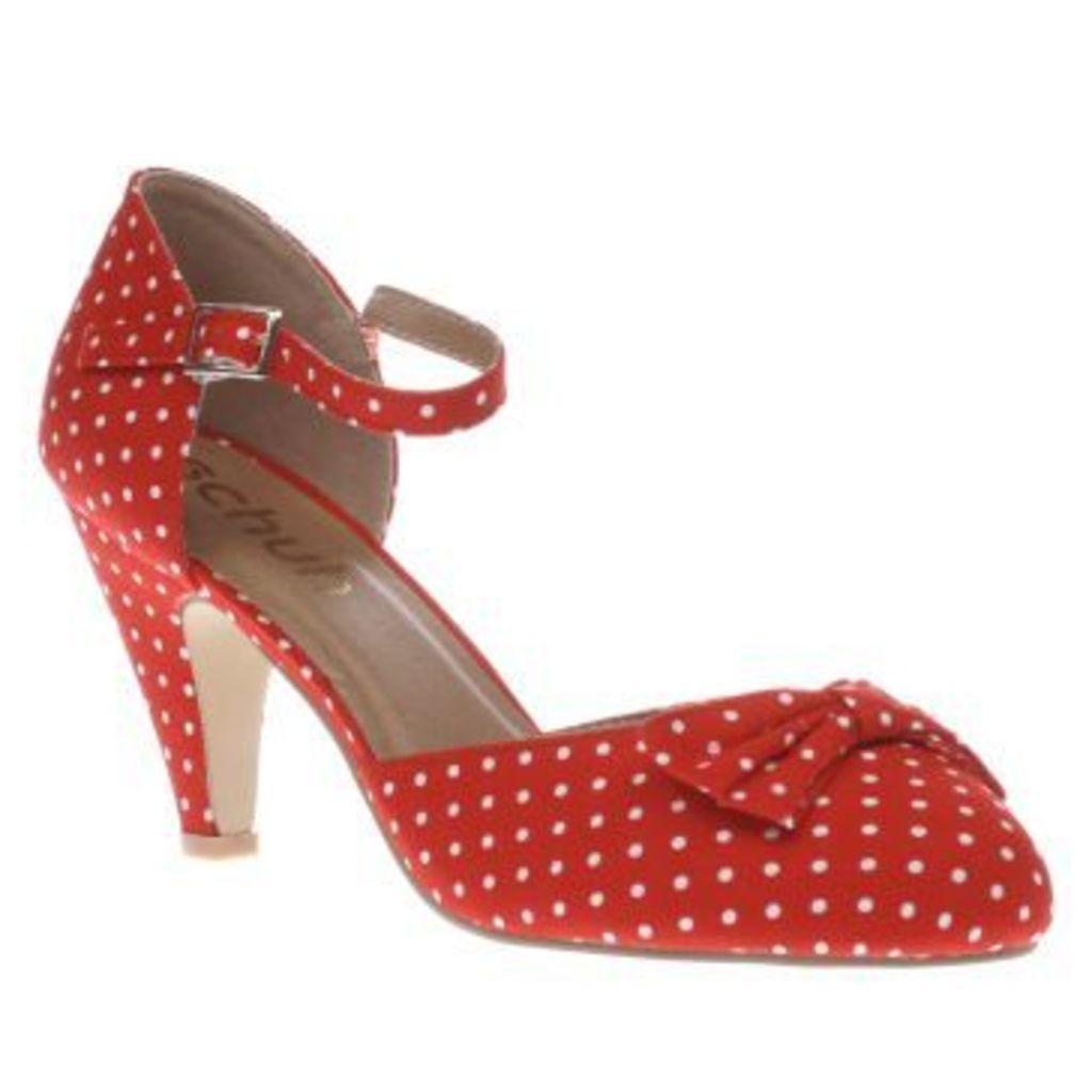 Schuh Red Salsa Polka Dots Womens Low Heels