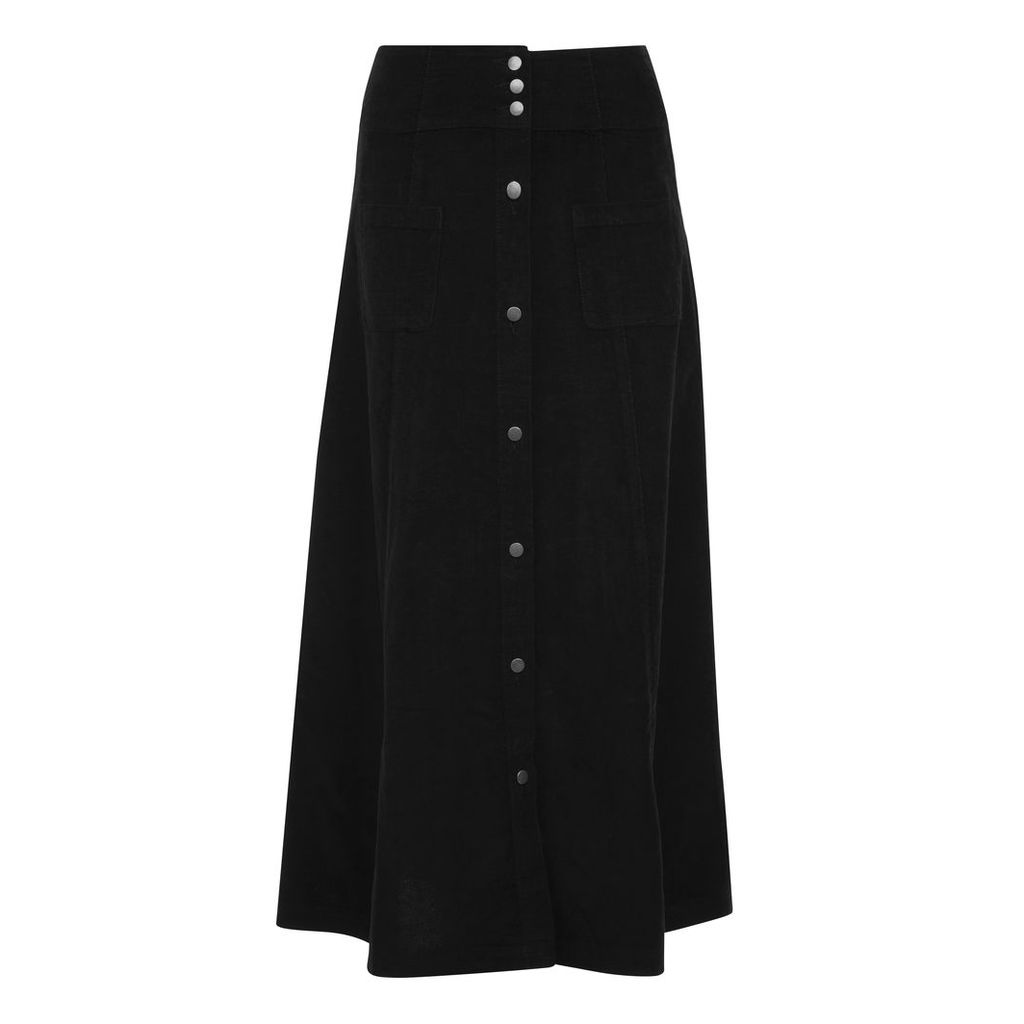 Button Front Cord Maxi Skirt
