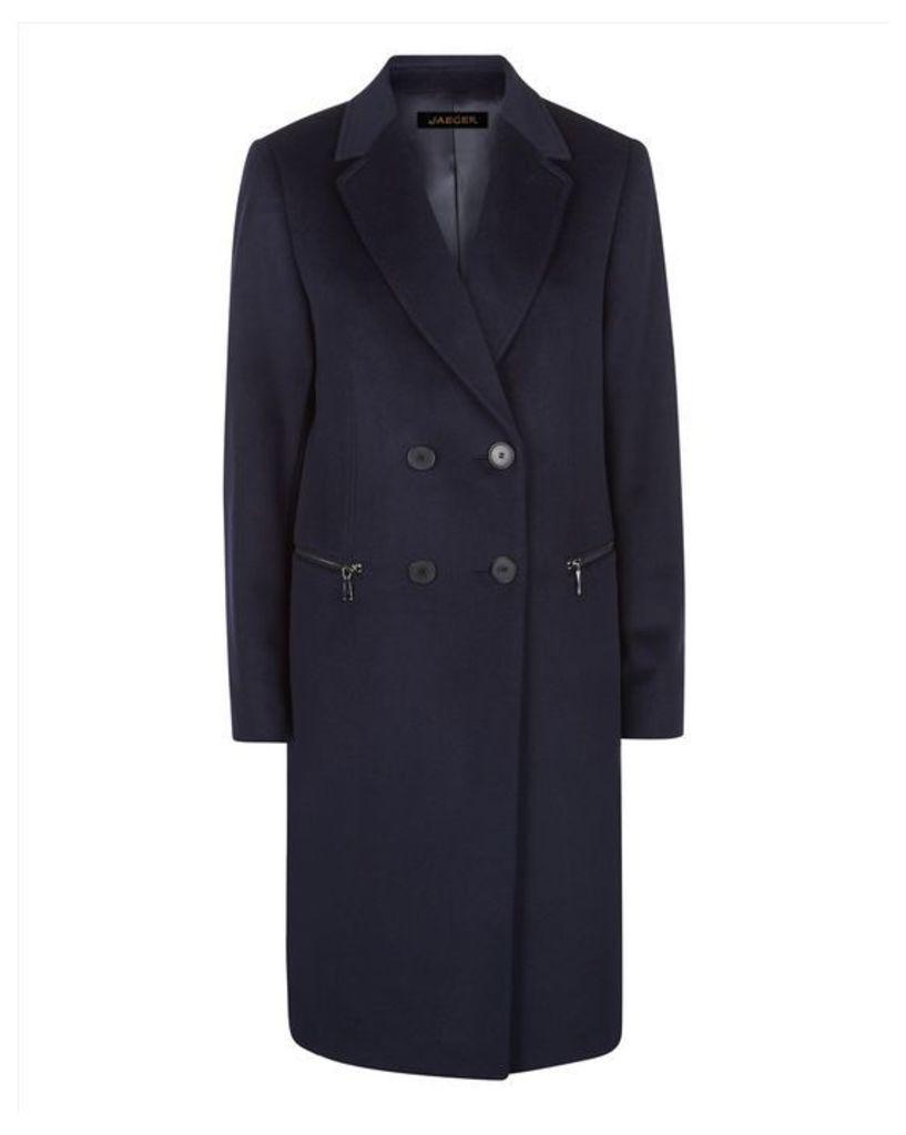 Wool Double-Breasted Zip Coat