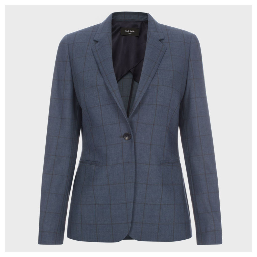 A Suit To Travel In - Petrol Blue Windowpane Check Wool Blazer