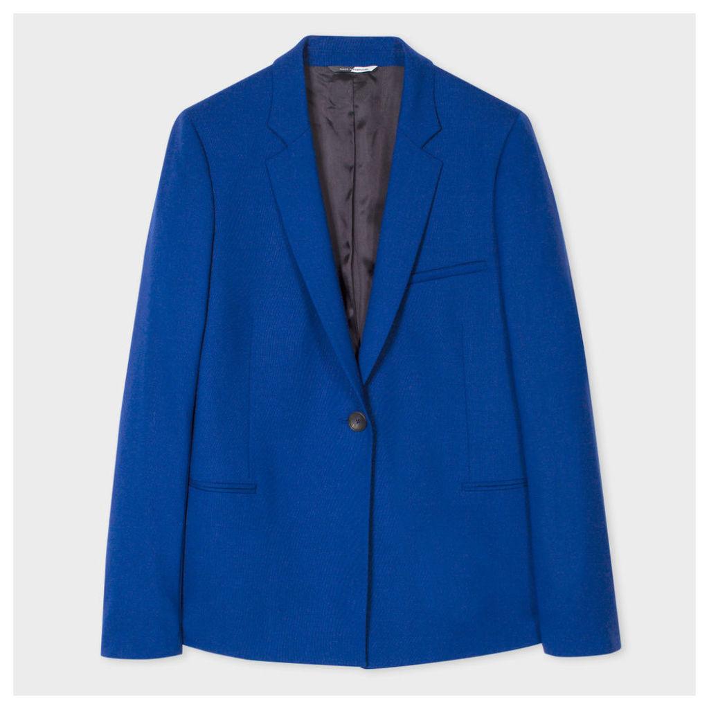 Women's Blue Merino Wool Blazer
