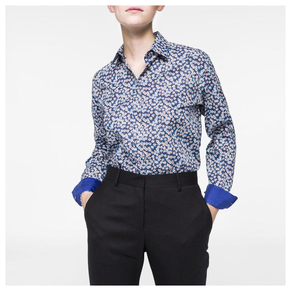 Women's Blue 'Floral' Print Cotton Shirt