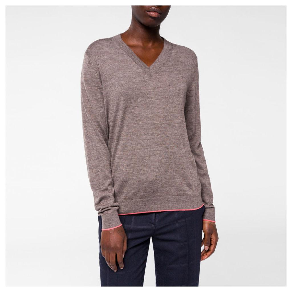 Women's Brown Marl Merino Wool V-Neck Sweater