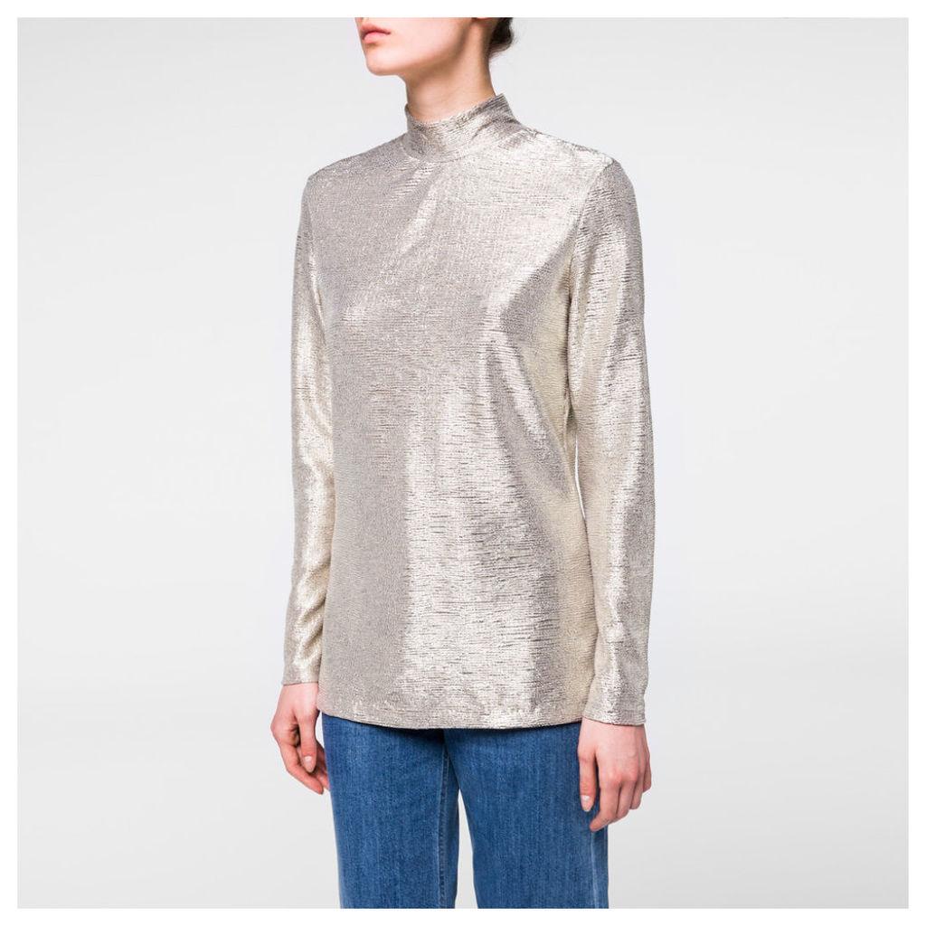 Women's Metallic Gold Long-Sleeved Top
