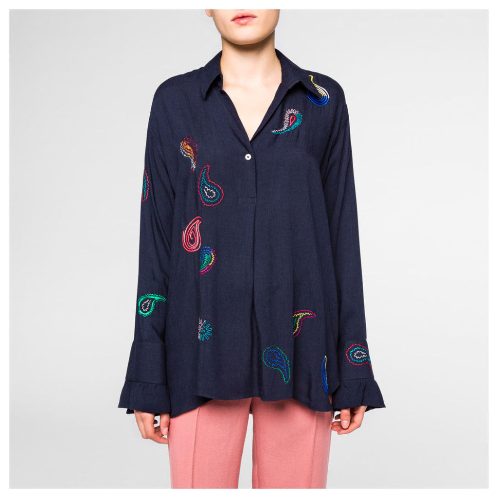 Women's Navy Embroidered Paisley Shirt With Frill Cuffs