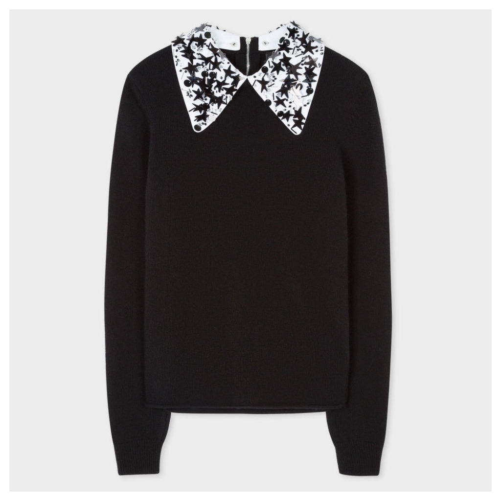 Women's Black Merino Wool Sweater With Removable Embellished Collar