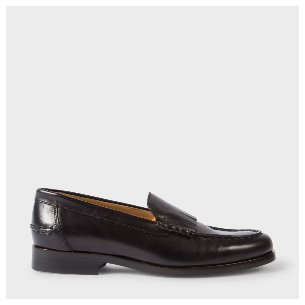Women's Black Calf Leather 'Lennox' Fringed Loafers