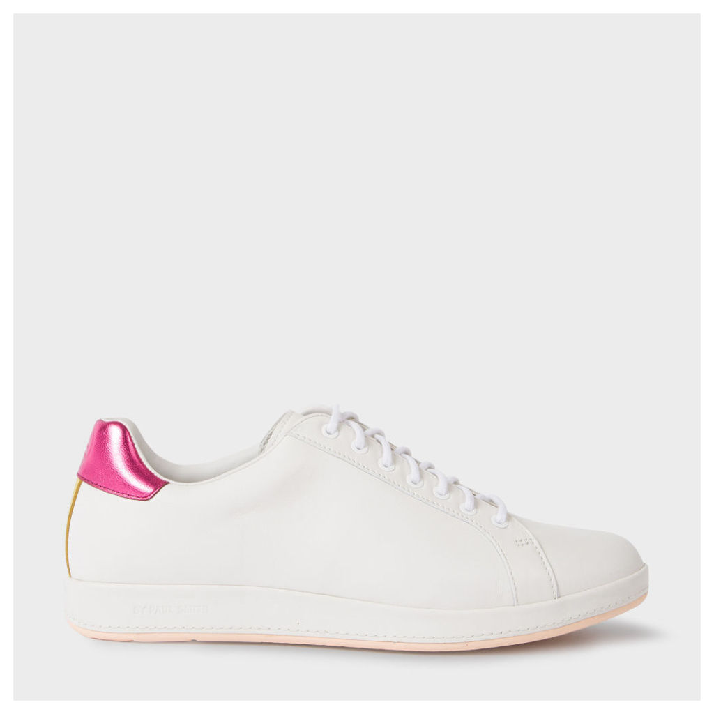 Women's White Leather 'Lapin' Trainers With Metallic Trims
