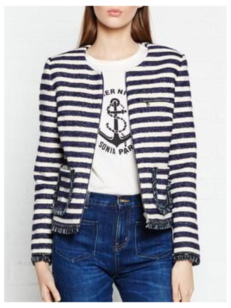 SONIA BY SONIA RYKIEL Fringed And Striped Tweed Box Jacket - Navy/White, Size Fr 42 = Uk 14