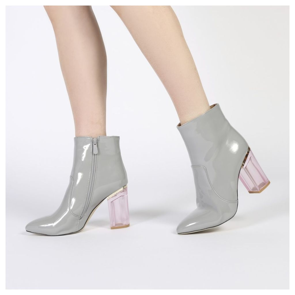 Cate Pointed Toe Perspex Heel Ankle Boots in Grey Patent
