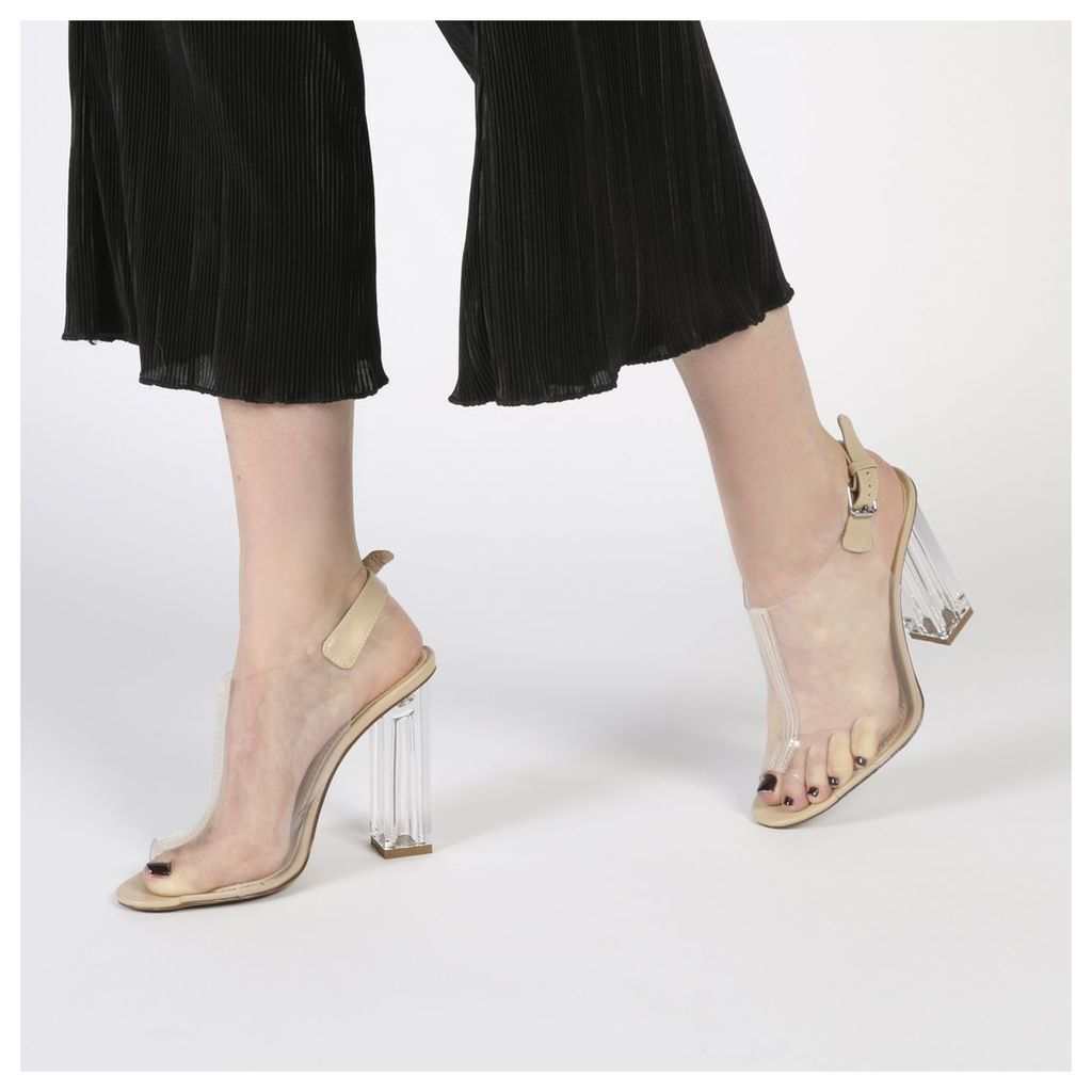 Kimmy Slingback Perspex Peeptoe Ankle Boots in Nude