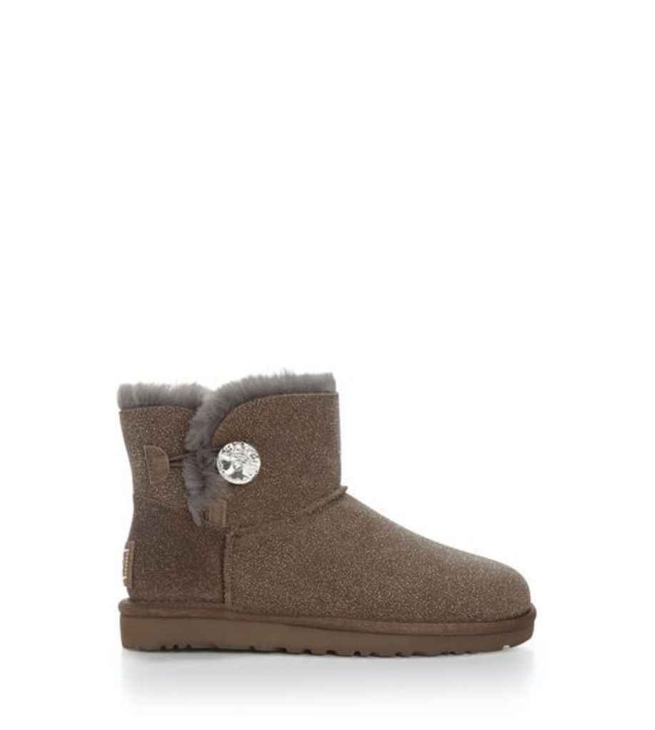 UGG Mini Bailey Button Serein Womens Boots Stormy Grey 9