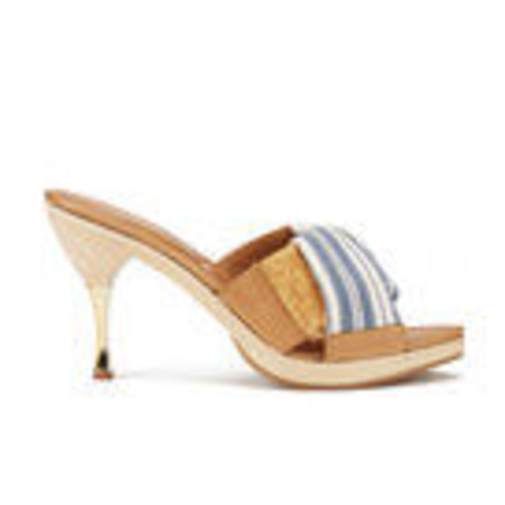 Vivienne Westwood Women's Twisted Mule Heeled Sandals - Cream/Navy - UK 4