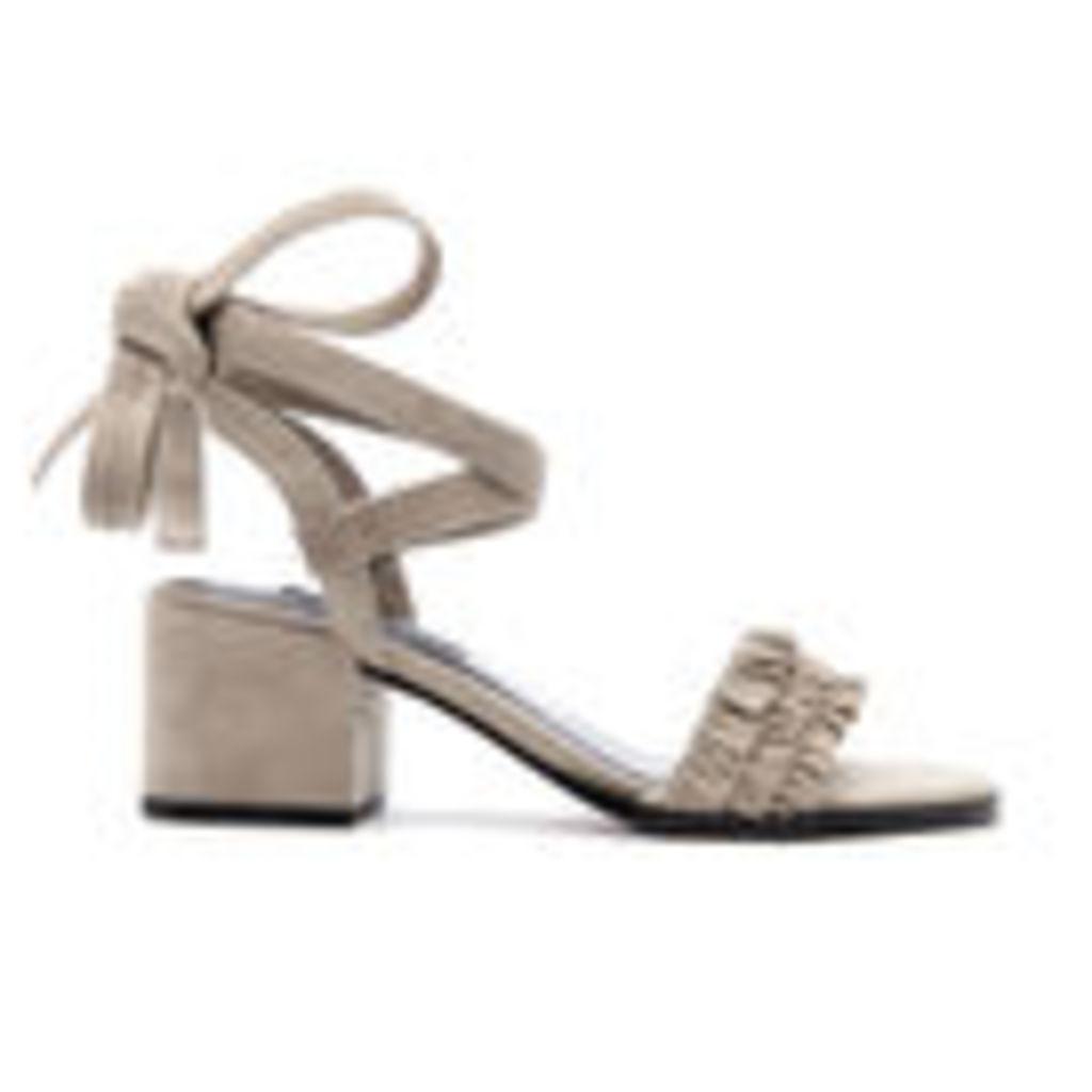 Senso Women's Juno Suede Frill Heeled Sandals - Dove - UK 4