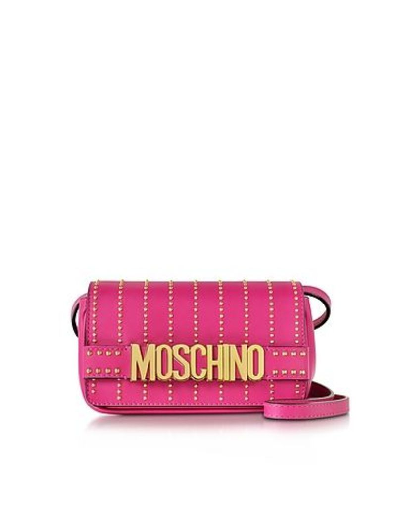 Moschino - Fuchsia Leather Crossbody Bag w/Studs