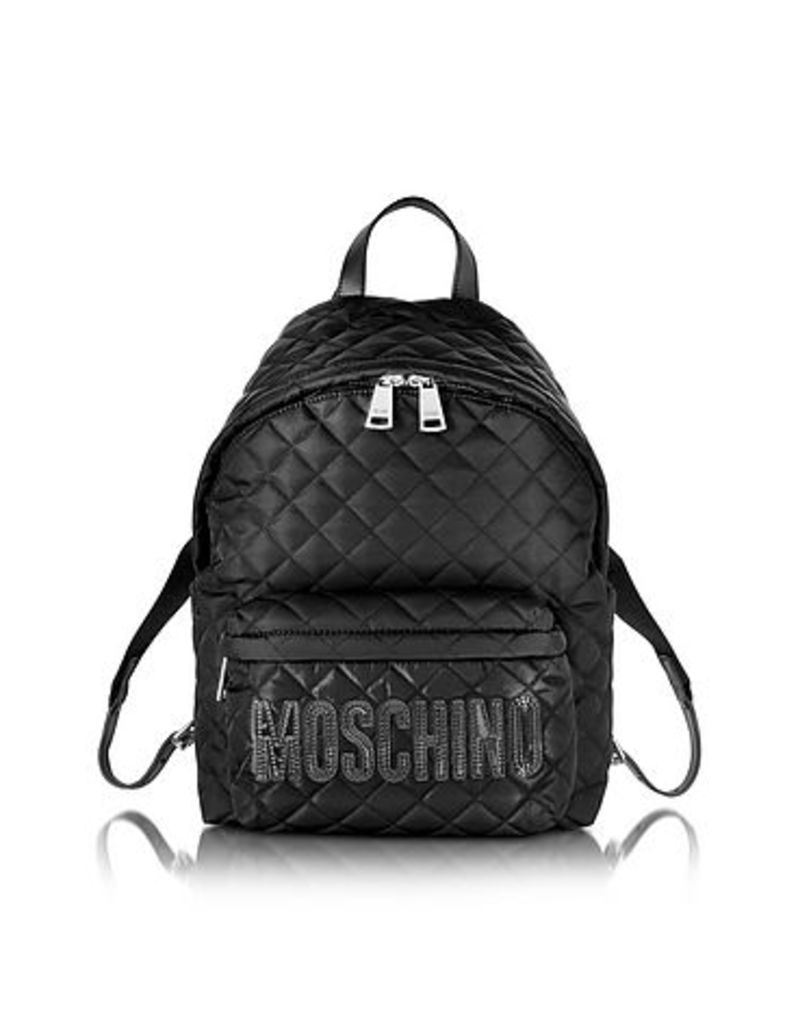 Moschino - Black Quilted Nylon Backpack w/Logo
