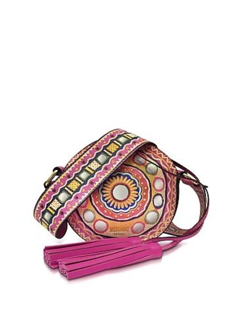 Moschino - Fuchsia Leather Round Crossbody Bag w/Tassels